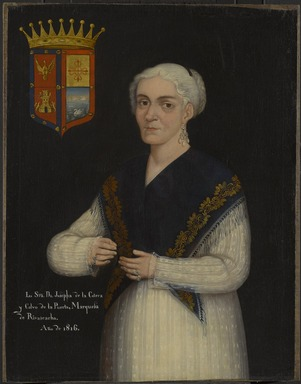 Mexican. <em>Doña Josefa de la Cotera y Calvo de la Puerta, Marquesa of Rivas Cacho</em>, 1816. Oil on canvas, 33 x 25 1/2 in. (83.8 x 64.8 cm). Brooklyn Museum, Museum Collection Fund and Dick S. Ramsay Fund, 52.166.5 (Photo: Brooklyn Museum, 52.166.5_PS4.jpg)