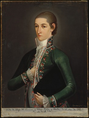 Ignacio Ayala (Mexican, 1786-1856). <em>Don José María Gómez de Cervantes y Altamirano de Velasco, Count of Santiago de Calimaya</em>, 1802. Oil on canvas, 33 x 25 1/8in. (83.8 x 63.8cm). Brooklyn Museum, Museum Collection Fund and Dick S. Ramsay Fund, 52.166.7 (Photo: Brooklyn Museum, 52.166.7_SL1.jpg)