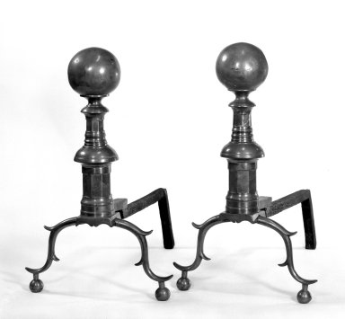 <em>Pairs of Andirons</em>, 18th century. Brass Brooklyn Museum, Gift of Mr. and Mrs. Edgar W. Garbisch, 52.168.2a-b. Creative Commons-BY (Photo: Brooklyn Museum, 52.168.2a-b_bw.jpg)