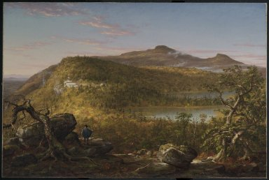 Thomas Cole (American, born England, 1801-1848). <em>A View of the Two Lakes and Mountain House, Catskill Mountains, Morning</em>, 1844. Oil on canvas, 35 13/16 x 53 7/8 in. (91 x 136.9 cm). Brooklyn Museum, Dick S. Ramsay Fund, 52.16 (Photo: Brooklyn Museum, 52.16_PS2.jpg)