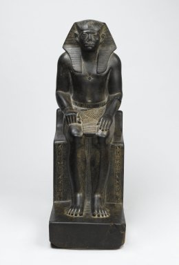 <em>King Senwosret III</em>, ca. 1836-1818 B.C.E. Granite, 21 7/16 x 7 1/2 x 13 11/16 in. (54.5 x 19 x 34.7 cm). Brooklyn Museum, Charles Edwin Wilbour Fund, 52.1. Creative Commons-BY (Photo: Brooklyn Museum, 52.1_front_PS2.jpg)