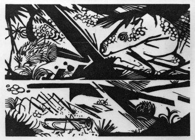 Franz Marc (German, 1880-1916). <em>Horse and Hedgehog (Pferd und Igel)</em>, 1913. Woodcut on very thin Japan paper, Image: 6 1/4 x 8 3/4 in. (15.9 x 22.2 cm). Brooklyn Museum, Ella C. Woodward Memorial Fund, 52.2.1 (Photo: Brooklyn Museum, 52.2.1_bw_IMLS.jpg)