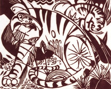 Franz Marc (German, 1880-1916). <em>Tiger</em>, 1912. Woodcut on Eastern laid paper, image: 7 7/8 × 9 7/16 in. (20 × 24 cm). Brooklyn Museum, Ella C. Woodward Memorial Fund, 52.2.2 (Photo: Brooklyn Museum, 52.2.2_SL4.jpg)