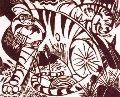 Franz Marc (German, 1880-1916). <em>Tiger</em>, 1912. Woodcut on Japan paper, Image: 7 7/8 x 9 1/2 in. (20 x 24.1 cm). Brooklyn Museum, Ella C. Woodward Memorial Fund, 52.2.2 (Photo: Brooklyn Museum, 52.2.2_SL4.jpg)