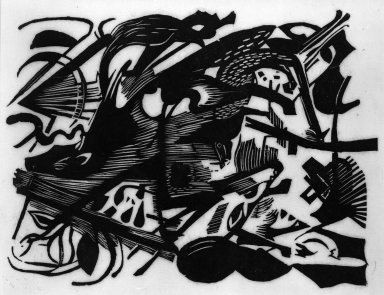 Franz Marc (German, 1880-1916). <em>Birth of the Wolf (Geburt der Wölfe)</em>, 1913. Woodcut on very thin Japan paper, Image: 10 x 7 1/2 in. (25.4 x 19.1 cm). Brooklyn Museum, Ella C. Woodward Memorial Fund, 52.2.3 (Photo: Brooklyn Museum, 52.2.3_bw_IMLS.jpg)