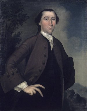 Joseph Badger (American, 1708-1765). <em>John Haskins</em>, 1759. Oil on canvas, 36 x 27 1/8 in. (91.4 x 68.9 cm). Brooklyn Museum, Museum Collection Fund, 52.42 (Photo: Brooklyn Museum, 52.42.jpg)