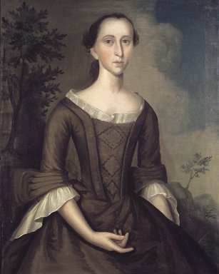Joseph Badger (American, 1708-1765). <em>Mrs. John Haskins (née Hannah Upham)</em>, 1759. Oil on canvas, 35 13/16 x 28 3/8 in. (91 x 72 cm). Brooklyn Museum, Museum Collection Fund, 52.43 (Photo: Brooklyn Museum, 52.43.jpg)