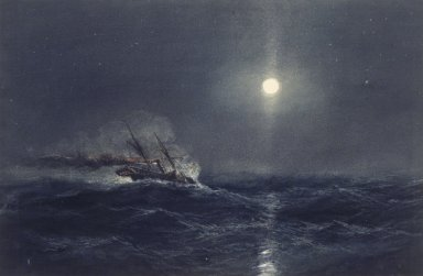 James Hamilton (American, 1819-1878). <em>Marine</em>. Watercolor Brooklyn Museum, Gift of Mr. and Mrs. Victor Spark in memory of Donald W. Spark, 52.44 (Photo: Brooklyn Museum, 52.44.jpg)