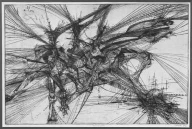 Gabor Peterdi (American, born Hungary, 1915-2001). <em>Apocalypse</em>, 1952. Etching and engraving on paper, 22 13/16 x 34 15/16 in. (58 x 88.7 cm). Brooklyn Museum, Dick S. Ramsay Fund, 52.46. © artist or artist's estate (Photo: Brooklyn Museum, 52.46_acetate_bw.jpg)
