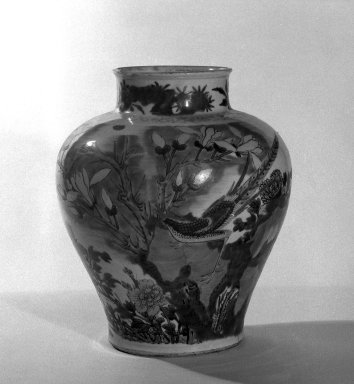<em>Oviform Jar</em>, 1368-1644. Porcelain with overglaze enamel decoration, 11 7/16 x 9 7/16 in. (29 x 24 cm). Brooklyn Museum, The William E. Hutchins Collection, Bequest of Augustus S. Hutchins, 52.49.16. Creative Commons-BY (Photo: Brooklyn Museum, 52.49.16_side1_bw.jpg)