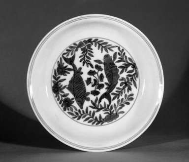 <em>Dish</em>, 1573-1619. Porcelain with cobalt-blue underglaze decoration, 1 3/8 x 7 1/8 in. (3.5 x 18.1 cm). Brooklyn Museum, The William E. Hutchins Collection, Bequest of Augustus S. Hutchins, 52.49.22. Creative Commons-BY (Photo: Brooklyn Museum, 52.49.22_bw.jpg)