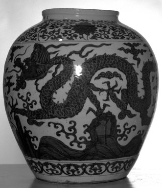 <em>Large Jar</em>, 1522-1566. Porcelain, underglaze cobalt blue decoration, 21 1/4 x 19 5/16 in. (54 x 49 cm). Brooklyn Museum, The William E. Hutchins Collection, Bequest of Augustus S. Hutchins, 52.49.2. Creative Commons-BY (Photo: Brooklyn Museum, 52.49.2_side1_bw.jpg)