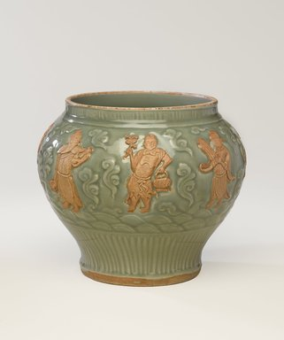 <em>Wine Jar with Eight Immortals</em>, 1271-1368. High-fired green ware (celadon), 10 x 10 15/16 x 11 5/8 in. (25.4 x 27.8 x 29.5 cm). Brooklyn Museum, The William E. Hutchins Collection, Bequest of Augustus S. Hutchins, 52.49.33. Creative Commons-BY (Photo: Brooklyn Museum, 52.49.33_PS9.jpg)