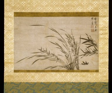 Hsueh Ch'uang. <em>Fragment of a handscroll mounted as a hanging scroll - Bamboo, Orchid and Thorn</em>, 1279-1368. Painting in ink on paper, Image: 15 3/4 x 25 3/16 in. (40 x 64 cm). Brooklyn Museum, Museum Collection Fund and A. Augustus Healy Fund, 52.50 (Photo: Brooklyn Museum, 52.50_IMLS_SL2.jpg)