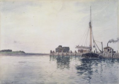 Alfred Thompson Bricher (American, 1837-1908). <em>Harbor</em>, late 1880's. Watercolor Brooklyn Museum, Gift of Allison Clement Withers in memory of Grace Graef Clement, 52.58 (Photo: Brooklyn Museum, 52.58.jpg)