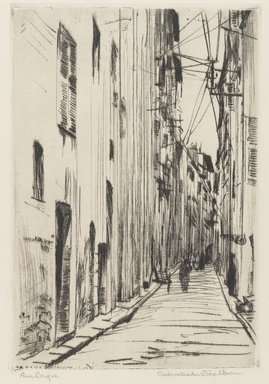 Cadwallader Washburn (American, 1866-1965). <em>Rue Longue</em>, 1907. Drypoint on laid paper, Plate: 7 7/8 x 5 5/16 in. (20 x 13.5 cm). Brooklyn Museum, Dick S. Ramsay Fund, 52.60.2 (Photo: Brooklyn Museum, 52.60.2_PS4.jpg)