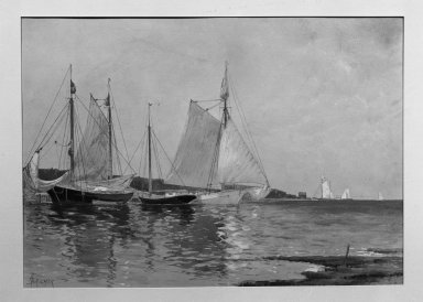 Alfred Thompson Bricher (American, 1837-1908). <em>Fishing Boats</em>. Watercolor Brooklyn Museum, Gift of Allison Clement Withers in memory of Grace Graef Clement, 52.70 (Photo: Brooklyn Museum, 52.70_acetate_bw.jpg)
