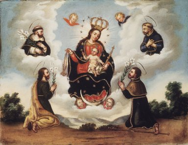 Mexican. <em>Our Lady of the Rosary with Saints</em>, 18th century. Oil on stone (tecali), 11 1/4 x 14 7/16 x 3/4 in. (28.6 x 36.7 x 1.9 cm). Brooklyn Museum, Gift of John Wise, 52.8 (Photo: Brooklyn Museum, 52.8.jpg)