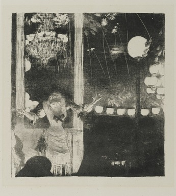 Edgar Degas (French, 1834-1917). <em>Mlle. Bécat at the Café des Ambassadeurs (Mlle. Bécat au Café des Ambassadeurs)</em>, 1877-1878. Lithograph on wove paper, image: 8 1/4 x 7 3/8 in. (21 x 18.7 cm). Brooklyn Museum, Ella C. Woodward Memorial Fund, 52.90.2 (Photo: Brooklyn Museum, 52.90.2_PS2.jpg)
