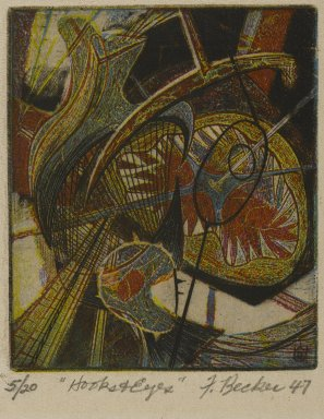 Frederick Gerhard Becker (American, 1913-2004). <em>Hooks and Eyes</em>, 1947. Etching and engraving in color, 2 15/16 x 2 1/2 in. (7.5 x 6.4 cm). Brooklyn Museum, Dick S. Ramsay Fund, 52.90.4. © artist or artist's estate (Photo: Brooklyn Museum, 52.90.4_PS2.jpg)