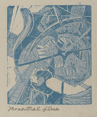 Frederick Gerhard Becker (American, 1913-2004). <em>Hooks and Eyes</em>, 1947. Etching and engraving in monastral blue Brooklyn Museum, Dick S. Ramsay Fund, 52.90.9. © artist or artist's estate (Photo: Brooklyn Museum, 52.90.9_PS2.jpg)