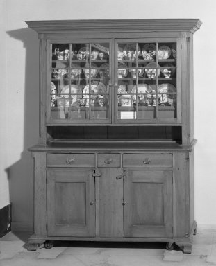 <em>Kitchen Dresser</em>, ca.1800. Close-grained wood, 82 x 58 in. (208.3 x 147.3 cm). Brooklyn Museum, Gift of the Monroe and Estelle Hewlett Collection, 52.93.39. Creative Commons-BY (Photo: Brooklyn Museum, 52.93.39_acetate_bw.jpg)