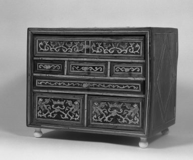 <em>Table Cabinet (Contador)</em>, late 17th or early 18th century. Wood, bone, ivory, and tortoiseshell, 12 5/16 x 14 9/16 x 10 1/4 in. (31.3 x 37 x 26 cm). Brooklyn Museum, Gift of Ernestina Fleischman, 53.11.8. Creative Commons-BY (Photo: Brooklyn Museum, 53.11.8_acetate_bw.jpg)