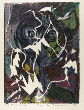 Adja Yunkers (American, born Latvia, 1900-1983). <em>The Bird Lover</em>, 1952. Woodcut on paper, 14 3/4 x 11 in. (37.5 x 28 cm). Brooklyn Museum, Dick S. Ramsay Fund, 53.14.1. © artist or artist's estate (Photo: Brooklyn Museum, 53.14.1_PS4.jpg)