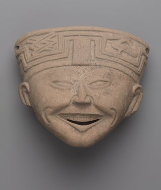 Totonac. <em>Head of a Laughing Man</em>, ca. 600-700. Ceramic, 6 x 6 3/4 x 4 1/4 in. (15.2 x 17.1 x 10.8 cm). Brooklyn Museum, Gift of Princess Gourielli (Mme Helena Rubinstein), 53.149.2. Creative Commons-BY (Photo: Brooklyn Museum, 53.149.2_PS9.jpg)