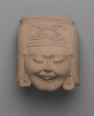 Totonac. <em>Head of Laughing Woman</em>, ca. 600-700. Ceramic, 6 1/4 x 5 1/4 x 4 in. (15.9 x 13.3 x 10.2 cm). Brooklyn Museum, Gift of Princess Gourielli (Mme Helena Rubinstein), 53.149.3. Creative Commons-BY (Photo: Brooklyn Museum, 53.149.3_PS9.jpg)