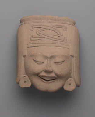 Totonac. <em>Head of Laughing Woman</em>, ca. 600-700. Ceramic, 6 1/4 x 5 1/4 x 4 in. (15.9 x 13.3 x 10.2 cm). Brooklyn Museum, Gift of Princess Gourielli (Mme Helena Rubinstein), 53.149.3. Creative Commons-BY (Photo: Brooklyn Museum, 53.149.3_PS9.jpg)