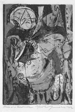 Adja Yunkers (American, born Latvia, 1900-1983). <em>Head of a Traveller</em>, 1952. Woodcut on paper, sheet: 15 5/8 x 10 3/4 in. (39.7 x 27.3 cm). Brooklyn Museum, Dick S. Ramsay Fund, 53.15.3. © artist or artist's estate (Photo: Brooklyn Museum, 53.15.3_bw.jpg)