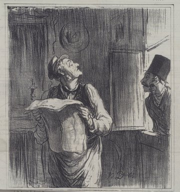 Honoré Daumier (French, 1808-1879). <em>Le Pipelet du Lendemain</em>, January 1, 1867. Lithograph on newsprint, Sheet: 12 7/8 x 11 7/8 in. (32.7 x 30.2 cm). Brooklyn Museum, A. Augustus Healy Fund, 53.166.1 (Photo: Brooklyn Museum, 53.166.1.jpg)