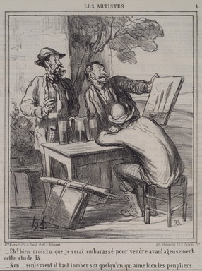 Honoré Daumier (French, 1808-1879). <em>Eh! Bien Crois-Tu...les Peupliers.</em>, January 19, 1865. Lithograph on newsprint, Sheet: 17 x 11 11/16 in. (43.2 x 29.7 cm). Brooklyn Museum, A. Augustus Healy Fund, 53.166.11 (Photo: Brooklyn Museum, 53.166.11.jpg)