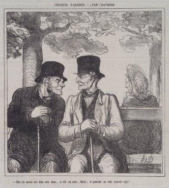 Honoré Daumier (French, 1808-1879). <em>Elle Est Encore Très Bien, Cette Dame...</em>, September 8, 1864. Lithograph on newsprint, Sheet: 12 5/8 x 11 3/8 in. (32.1 x 28.9 cm). Brooklyn Museum, A. Augustus Healy Fund, 53.166.12 (Photo: Brooklyn Museum, 53.166.12.jpg)