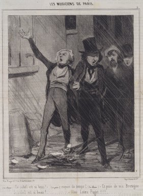 Honoré Daumier (French, 1808-1879). <em>(En Choeur). Le Soleil Est Si Beau! ...</em>, February 14, 1843. Lithograph on newsprint, Sheet: 14 7/16 x 9 9/16 in. (36.7 x 24.3 cm). Brooklyn Museum, A. Augustus Healy Fund, 53.166.13 (Photo: Brooklyn Museum, 53.166.13.jpg)