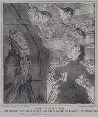 Honoré Daumier (French, 1808-1879). <em>La Mère de la Débutante</em>, July 2, 1864. Lithograph on newsprint, Sheet: 12 1/16 x 11 1/4 in. (30.6 x 28.6 cm). Brooklyn Museum, A. Augustus Healy Fund, 53.166.16 (Photo: Brooklyn Museum, 53.166.16.jpg)