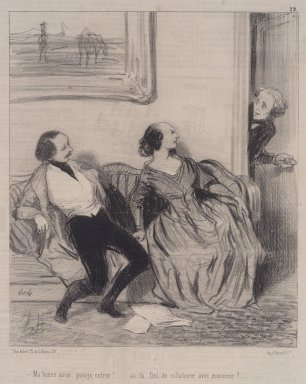Honoré Daumier (French, 1808-1879). <em>Ma Bonne Amie, Puis-je Entrer!</em>, May 30, 1844. Lithograph on newsprint, Sheet: 13 15/16 x 9 1/2 in. (35.4 x 24.1 cm). Brooklyn Museum, A. Augustus Healy Fund, 53.166.17 (Photo: Brooklyn Museum, 53.166.17.jpg)