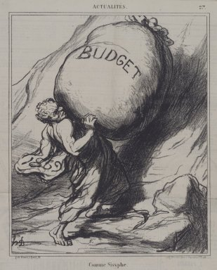Honoré Daumier (French, 1808-1879). <em>Comme Sisyphe</em>, February 25, 1869. Lithograph on newsprint, Sheet: 16 15/16 x 11 5/8 in. (43 x 29.5 cm). Brooklyn Museum, A. Augustus Healy Fund, 53.166.2 (Photo: Brooklyn Museum, 53.166.2.jpg)