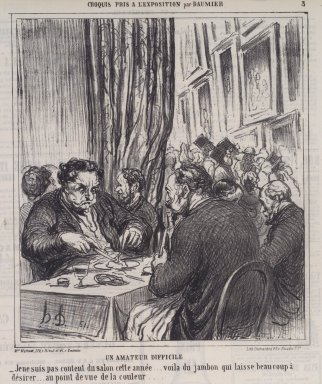 Honoré Daumier (French, 1808-1879). <em>Un Amateur Difficile</em>, June 17, 1864. Lithograph on newsprint, Sheet: 11 5/16 x 10 in. (28.7 x 25.4 cm). Brooklyn Museum, A. Augustus Healy Fund, 53.166.20 (Photo: Brooklyn Museum, 53.166.20.jpg)