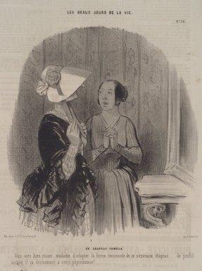 Honoré Daumier (French, 1808-1879). <em>Un Chapeau Pamèla</em>, November 4, 1845. Lithograph on newsprint, Sheet: 13 7/8 x 9 1/2 in. (35.2 x 24.1 cm). Brooklyn Museum, A. Augustus Healy Fund, 53.166.21 (Photo: Brooklyn Museum, 53.166.21.jpg)