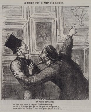 Honoré Daumier (French, 1808-1879). <em>Un Peintre Fantaisistes</em>, May 11, 1865. Lithograph on newsprint, Sheet: 11 11/16 x 10 1/2 in. (29.7 x 26.7 cm). Brooklyn Museum, A. Augustus Healy Fund, 53.166.22 (Photo: Brooklyn Museum, 53.166.22.jpg)