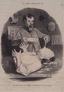 Honoré Daumier (French, 1808-1879). <em>Un Monsieur Qui Veut Se Donner la Satisfaction</em>, August 10, 1846. Lithograph on newsprint, Sheet: 14 7/16 x 9 7/16 in. (36.7 x 24 cm). Brooklyn Museum, A. Augustus Healy Fund, 53.166.23 (Photo: Brooklyn Museum, 53.166.23.jpg)