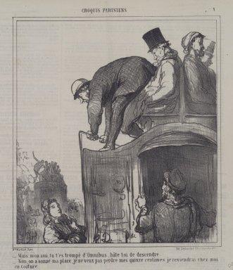 Honoré Daumier (French, 1808-1879). <em>Mais, Mon Ami, Tu T'es Trompé d'Omnibus...</em>, February 12, 1866. Lithograph on newsprint, Sheet: 11 3/8 x 10 3/8 in. (28.9 x 26.4 cm). Brooklyn Museum, A. Augustus Healy Fund, 53.166.4 (Photo: Brooklyn Museum, 53.166.4.jpg)
