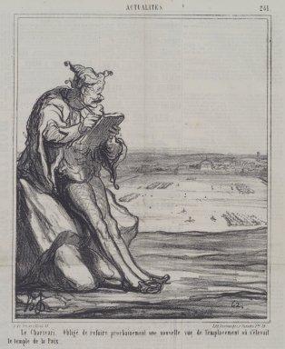 Honoré Daumier (French, 1808-1879). <em>Le Charivari, Obligé de Refaire Prochainement une Nouvelle Vue</em>, November 26, 1867. Lithograph on newsprint, Sheet: 12 13/16 x 11 1/4 in. (32.6 x 28.6 cm). Brooklyn Museum, A. Augustus Healy Fund, 53.166.5 (Photo: Brooklyn Museum, 53.166.5.jpg)