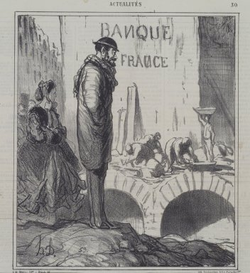 Honoré Daumier (French, 1808-1879). <em>A Propos des... Caves de la Banque de France</em>, February 16, 1866. Lithograph on newsprint, Sheet: 12 5/8 x 11 5/8 in. (32.1 x 29.5 cm). Brooklyn Museum, A. Augustus Healy Fund, 53.166.6 (Photo: Brooklyn Museum, 53.166.6.jpg)