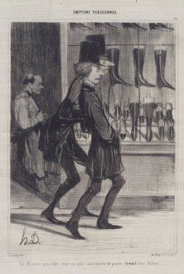Honoré Daumier (French, 1808-1879). <em>Ces Messieurs Pour Aller Diner En Ville...</em>, November 26, 1839. Lithograph on newsprint, Sheet: 14 7/8 x 10 1/4 in. (37.8 x 26 cm). Brooklyn Museum, A. Augustus Healy Fund, 53.166.9 (Photo: Brooklyn Museum, 53.166.9.jpg)