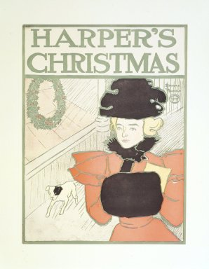 Edward Penfield (American, 1866-1925). <em>Harper's Poster - Christmas, December 1896</em>, 1896. Lithograph on wove paper, 17 1/4 x 12 7/8 in. (43.8 x 32.7 cm). Brooklyn Museum, Dick S. Ramsay Fund, 53.167.13 (Photo: Brooklyn Museum, 53.167.13_transp1908.jpg)