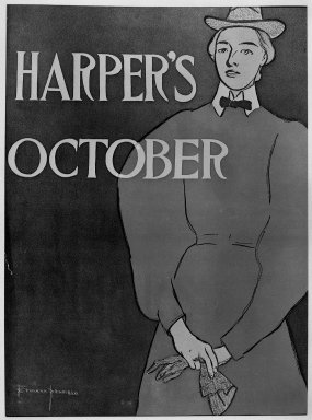 Edward Penfield (American, 1866-1925). <em>Harper's Poster</em>, ca. 1894-1898. Lithograph on wove paper, Sheet: 18 1/4 x 12 in. (46.4 x 30.5 cm). Brooklyn Museum, Dick S. Ramsay Fund, 53.167.27 (Photo: Brooklyn Museum, 53.167.27_acetate_bw.jpg)