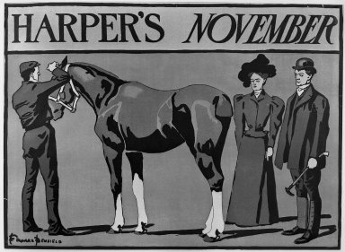 Edward Penfield (American, 1866-1925). <em>Harper's Poster</em>, ca. 1894-1898. Lithograph on wove paper, Sheet: 14 3/16 x 19 5/16 in. (36.1 x 49.1 cm). Brooklyn Museum, Dick S. Ramsay Fund, 53.167.30 (Photo: Brooklyn Museum, 53.167.30_acetate_bw.jpg)